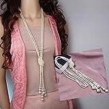 Distinct® Perle bianche di moda artificiale lunga catena Charms maglione collana gioielli accessori