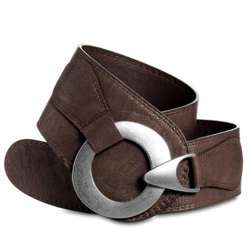 CASPAR GU243 Cinturón Ancho para Mujer con Hebilla Grande Metalizado - Varios Colores, Talla de cinturón:100;Color:marrón oscuro