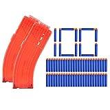 YAKOK 2 Stück 15er Banana Magazin Clip + 100 Stück Pfeile Patronen Darts für Nerf Modulus Regulator/N-Strike Elite/Stryfe/Retaliator/Zombie/Rebelle/Rapidstrike/Raptorstrike (Blau,Orange)
