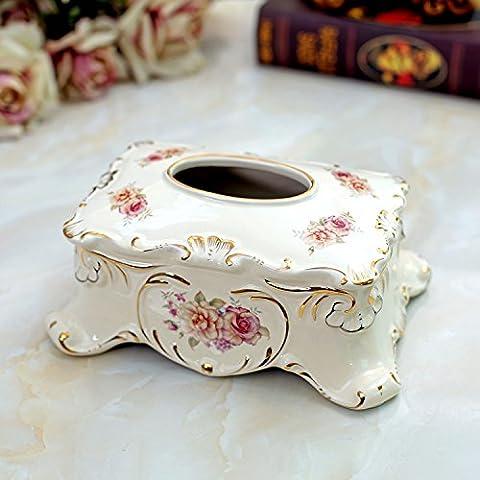 Tejido de alta calidad Europeo caja de cer¨¢mica cuadrado decoraci¨®n ideas hogar porcelana marfil bandeja tama?o 26 * 17,5 *