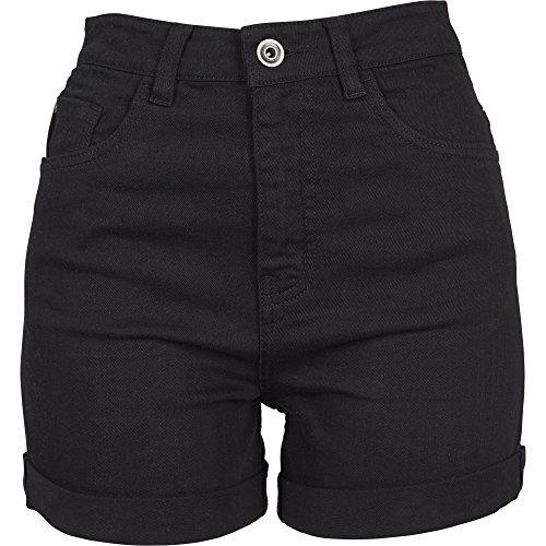 Urban Classics Damen Ladies Highwaist Stretch Twill Shorts, Schwarz (Black 00007), 40 (Herstellergröße: 29) (Twill-shorts)