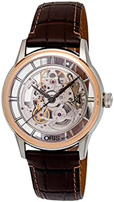 Oris Artelier Translucent Skeleton Automatic Steel & 18k Rose Gold Mens Watch 734-7684-6351-LS