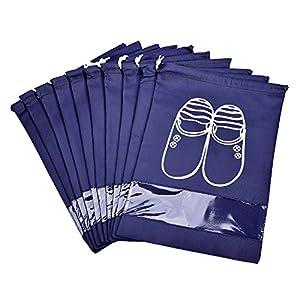 Vovoly sac a chaussure Lot de 10 Imperméable et Respirante avec fermeture de cordon et fenêtre transparente