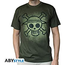 "AbyStyle - T-Shirt ONE PIECE ""Skull with map Used"" Kaki Taille S - 3760116318112"
