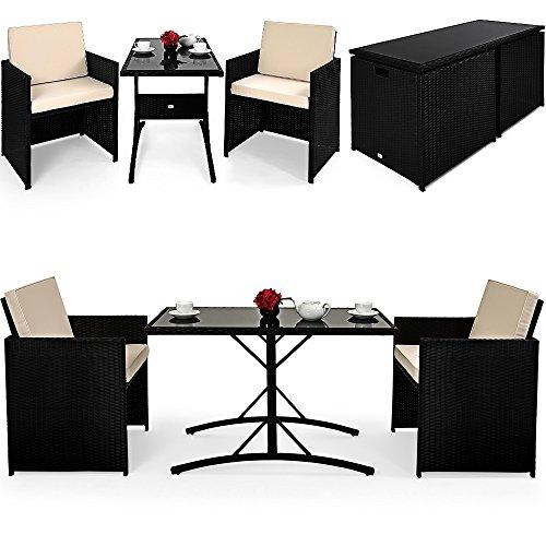 Deuba Poly Rattan Sitzgruppe 2+1 | Cube Design | 7cm dicke Auflagen in creme | klappbare...