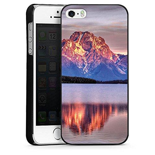 Apple iPhone 5s Housse Étui Protection Coque Paysage alpin Lac Forêt CasDur noir