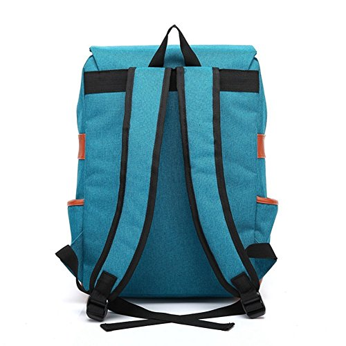 Retro tessuto Oxford Zaini Laptop zaino zaino scuola cartella zaino Daypacks per ragazzi ragazze studenti Hellblau Blau