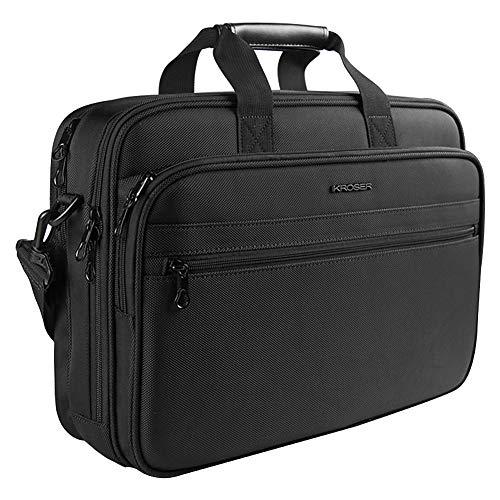 KROSER Laptop Tasche Aktentasche passt bis zu 16 Zoll(40.64CM) Wasserabweisende Computer Tasche Leichte Schultertasche Laptop Messenger Bag für Reisen/Business/Männer/Frauen-Schwarz MEHRWEG