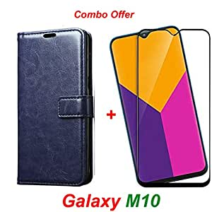 Goelectro Samsung Galaxy M10 / Galaxy M10 (Combo Offer) Leather Dairy Flip Case Stand with Magnetic Closure & Card Holder Cover + 6D Curved Tempered Glass Screen Protector (Blue)