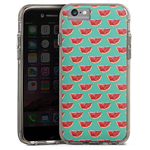 Apple iPhone 6 Bumper Hülle Bumper Case Glitzer Hülle Wassermelone Pattern Muster Bumper Case transparent grau