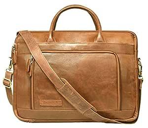 Leaderachi- VT Leather Laptop Briefcase Bag [Bremen, Cognac]