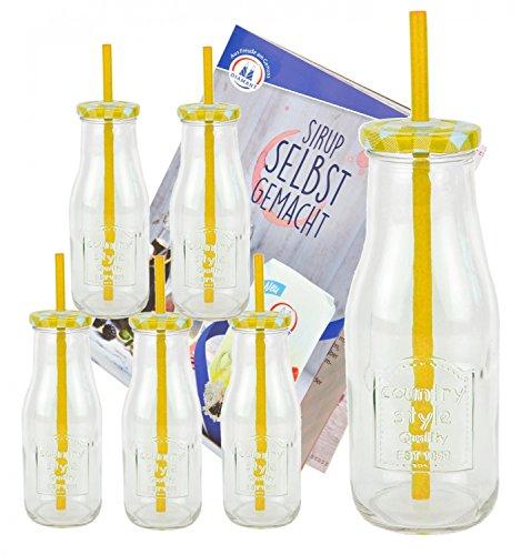 Set di 6bottiglia in vetro con coperchio e cannuccia con quaderno per ricette-giallo a quadretti-400ml borraccia/bicchiere con rilievo-per succhi, frullati e altre bevande analcoliche