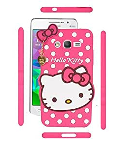 IDEAL Hello Kitty 3D Embossed Designer Soft Back Case Cover With Golden Pendant For Samsung Galaxy A5 New 2016 SM-A510 PINK