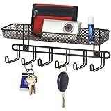 Boîte à clés mDesign avec casier du courrier en noir - idéal pour accrocher des clés, des laisses de chien ou des sacs à main - tableau des clés mural pratique