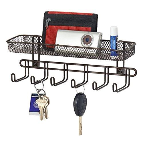 mDesign Schlüsselbrett mit Briefablage in schwarz – ideal zum Aufhängen von Schlüsseln, Hundeleinen oder Handtaschen im Eingangsbereich – praktisches Schlüsselboard zur Wandmontage