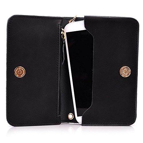 Kroo Pochette Cou en cuir fait avec dragonne pour Smartphone 12,7cm Housse de transport pour ZTE V5Lux/Lame L3 Marron - marron noir - noir