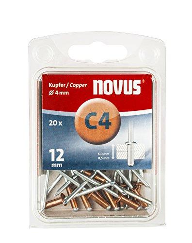 Novus Kupfer-Blindnieten 12 mm, 20 Stk., Ø 4mm, 6.0-8.5 mm Klemmlänge, für korrosionsbeständige, leitfähige Verbindungen - Kupfer 12
