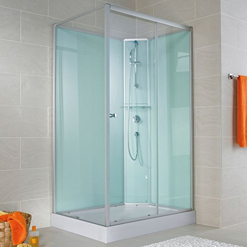 Schulte Fertigdusche Komplettdusche 140 x 90 cm Duschtempel Ibiza, 5 mm Sicherheits-Glas, Profile alu natur, Rückwände light-grün, Duschwanne weiß