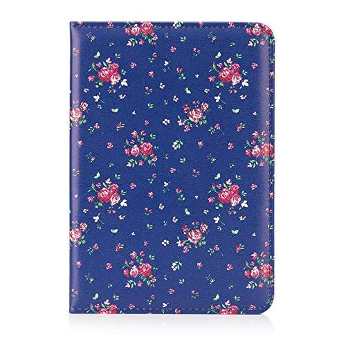 32nd Blumen Series - PU Leder Folio Hülle Case Flip Cover für Apple iPad Mini 5 (2019), Blumendesign hüllen Entwurf gemacht Mit Ständer - Weinlese-Rosen-Indigo -
