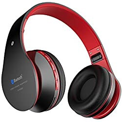 Aita BT809 Auriculares con Micrófono, MP3 Player, MicroSD / TF Música, Radio FM Digital, 4 en 1 Multifuncional Estéreo Inalámbrico Bluetooth 4.1 + EDR Manos Libres para iPhone, Smartphone, Tablet, MP3 etc. Para adolescentes y adultos (Negro-Rojo)