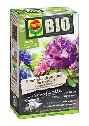 COMPO BIO Rhododendron Langzeit-Dünger für alle Rhododendren und andere Morbeetpflanzen, 5 Monate Langzeitwirkung, 750 g -