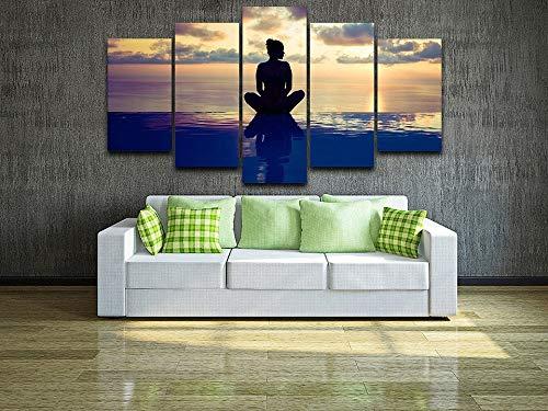 ADDFLOWER Decoración del hogar Moderno 5 Piezas Lienzo de Pintura HD Imprimir Yoga Figura Amanecer Paisaje Marino Posters HD Imprimir Imagen de Arte de la Pared para la habitación, 40X60 40X80 40X100