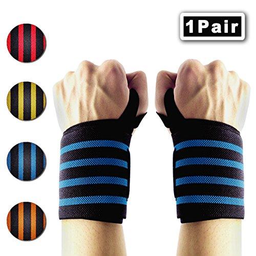 IWAMEE Handgelenkbandagen Wrist Wraps 60cm mit Daumenschlaufe Perfekt fürs Gewichtheben Krafttraining Powerlifting Bodybuilding Crossfit Fitness Passend für Frauen und Männer Blau(2er Set)
