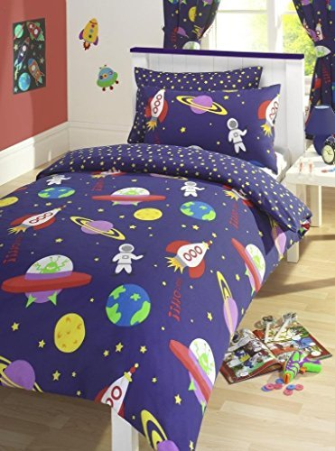 Blue Blast Off Space Man Rockets Reversible Junior Cot Bed Duvet Cover Set Inc Pillowcase by Kids Club (Rocket Cover)
