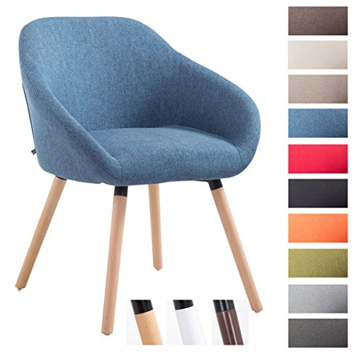CLP Reception chair HAMBURG armrests, fabric covers, max. weight capacity 150 kg, wooden frame, upholstered seat, floor protectors blue, colour frame: nature