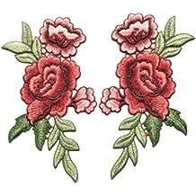 handfly bordado rosa flores para coser en parche insignia bordado de flores bolsa de cuello Busto vestido Applique DIY costura suministros