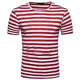 T-Shirts,Honestyi 2018 Klassisches Marine Streifen Basic T-Shirt Print Shirt Basic Crew Neck Tall & Slim Kurzarmshirt Sweatshirt Weste Tops, weich und luftig,Große Größe S-XXL (XXL, Rot)