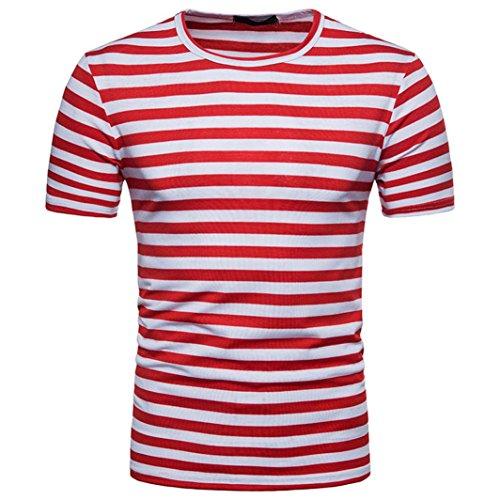 T-Shirts,Honestyi 2018 Klassisches Marine Streifen Basic T-Shirt Print Shirt Basic Crew Neck Tall & Slim Kurzarmshirt Sweatshirt Weste Tops, Weich und Luftig,Große Größe S-XXL (S, Rot) (Herren-pullover Weste Rot)