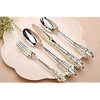 Esfishbone Rose Cuchillo De Filete Y Cuchara Cuchara De Plata/Oro 4 Piezas Conjunto (Cuchillo Ork * 1 Tenedor * 1 Cuchara * 2),Silver