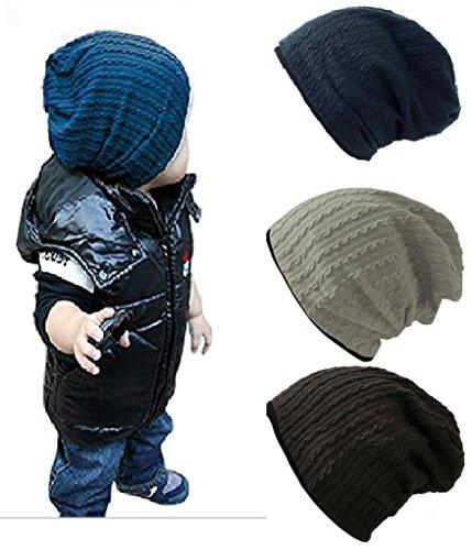 BOMPOW 4pcs Baby Hut Reversible Infant Cute Baumwolle stricken Hut tzen Cap 6 Monate bis 3 Jahre (Stricken Winter Hut Reversible)
