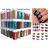 30 X Nail Art Foils Wraps Transfer Glitter Sticker Polish Decal Metallic holographic Decoration UK (NF30)