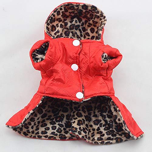 Kostüm Dog Leopard - BAONUAN Haustier Kleidung Winter Hundebekleidung Cute Pet Dogs Leopard Kostüm Oberteile Puppy Cotton Hoodie Kleidung Warme Hunde Mäntel Und Jacken