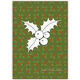 4er Set Elegante Unternehmen Weihnachtskarten grün mit Mistel Silhouette auf Weihnachts Muster, innen blanko/ weiß als Weihnachtsgrüße geschäftlich / Neujahrskarte / Firmen Weihnachtskarte für Kunden, Geschäftspartner, Mitarbeiter: -