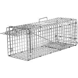 Elbe Pièges à cages de Grande Taille 61x21x18 cm cm Piège de Capture Piège pour Animaux Sans Cruauté - Argent_MAF04