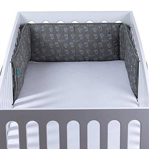 Urban Kanga Tour de Lit Bébé | Pare Choc Lit en Coton Mousseline | Convient pour un lit bébé de 120 x 60 cm | Unisexe | Garçons | Filles (Animaux Gris)