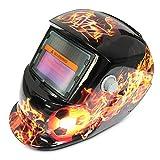 QYLT Casco Saldatura, Maschera di Saldatura Cappuccio Oscurante Autoalimentato ad Energia Solare, Disegno del Modello del Pallone da Calcio della Maschera del Saldatore