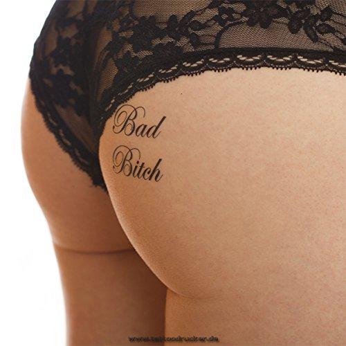 10 x Bad Bitch - kleiner Tattoo Schriftzug in schwarz - Sexy Kinky Tattoo (10)