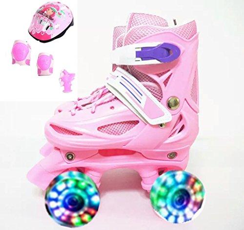 Einstellbare Kinder Training Zweireihig Rollschuhe PVC Rad Triple Lock Mesh Atmungsaktive Rollerblades Für Anfänger Kleinkinder Kinder Jungen Mädchen Inline Skates,Pink-XS-Set2