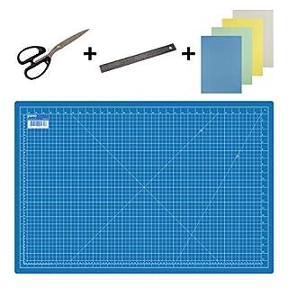 Pavo 8011438 Premium Set Schneidematte - 90x60 cm (A1) Blau + Schere 205mm + Lineal 30 cm + 20x Art & craft Papier - Premium-Qualität - für professionelle Schnittarbeiten Farbe Schneidematte: Blau