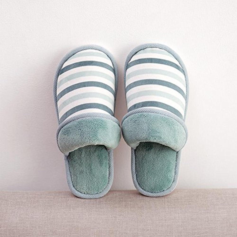 Y-Hui zapatillas de algodón, fresco invierno zapatillas Plaid, hogar cálido zapatillas,38/39,Rayas azules