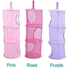 LIVEHITOP 3 piezas Red de malla de almacenamiento cesta, de 3 niveles plegable bolsas de ahorro de espacio de almacenamiento organizador para juguetes, pequeños colethes (Pink, Rosa, Púrpura)