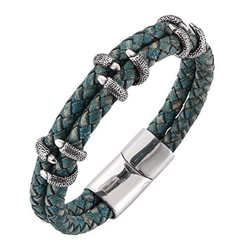 rren Leder Seil Damen Lederarmband Edelstahl dekorative Paar Armband ()
