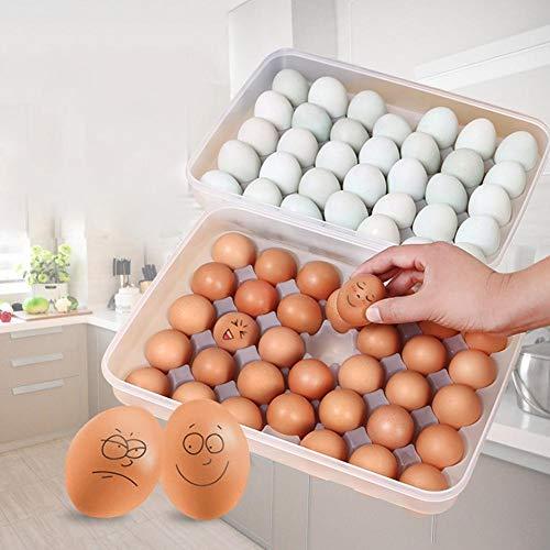 awayhall Eierbehälter, 34 Kühlschrank Eierbehälter mit Deckel, tragbarer Eierhalter aus Kunststoff - schützen und frisch halten, stapelbare große Eierablage (klar)