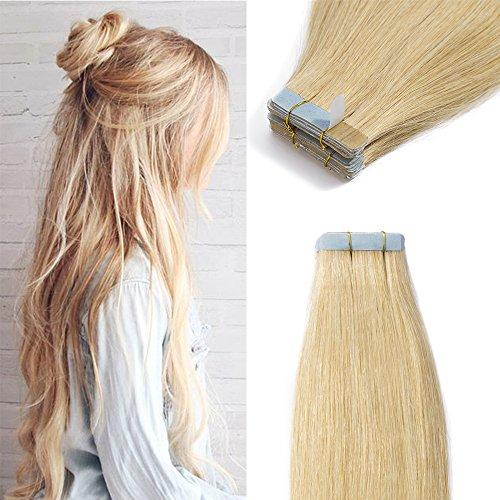 Extension adesive capelli veri biondi con biadesivo 40 fasce biadesive #24 biondo naturale 60cm remy human hair biondi lunghi lisci 100g tape extensions 2.5grammi/ciocca