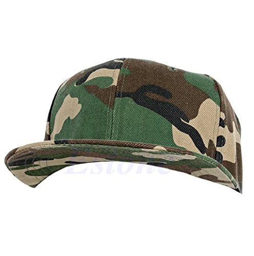 Dairyshop Baseball Camo Esercito Cap Camouflage Contrasto Sole Cappello Snapback Flat Peak Rapper (Bianco e Nero) Giallo & Verde