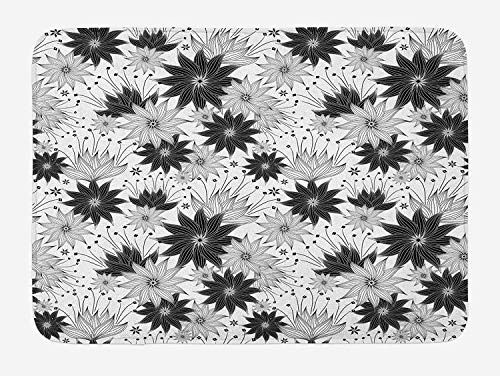 CHKWYN Grey Bath Mat, Illustration of Old Fashion Various Size Spiral Vintage Flowers Urban Design Artistic, Plush Bathroom Decor Mat with Non Slip Backing, White Black,15.7X23.6 inch